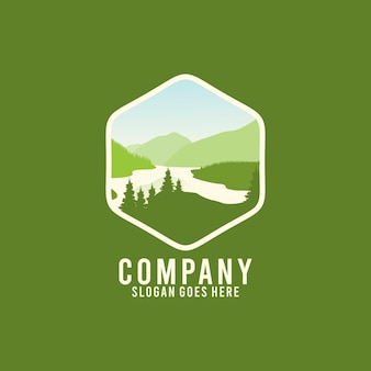 Шаблон дизайна логотипа lake outdoor