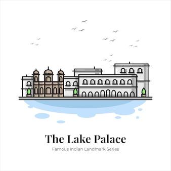 The lake palace indian famous iconic landmark cartoon line art illustration