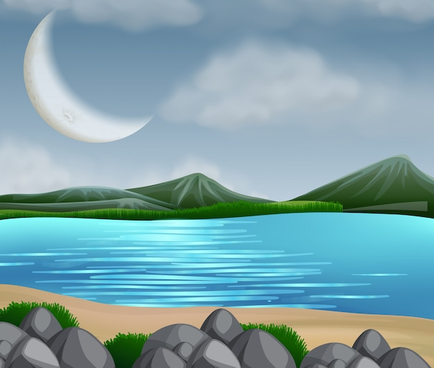 Сцена озера с горами