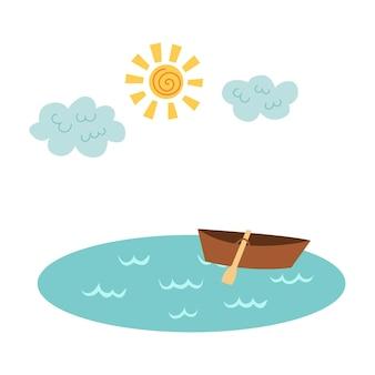 보트 구름 햇살이 있는 호수. 벡터 손 그리기 클립 아트