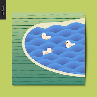Lake with ducks in the waves and striped field postcard
