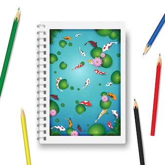 Lake with koi fishes in the note book