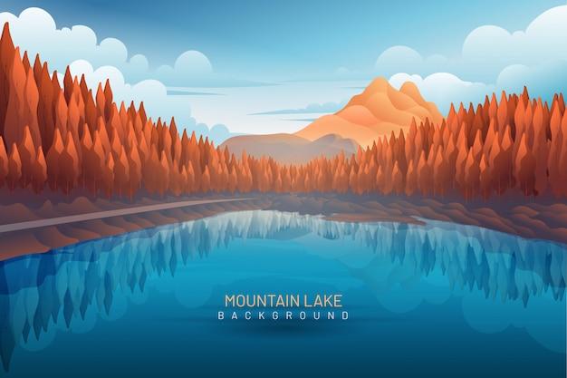 Lake with mountain backdrop landscape