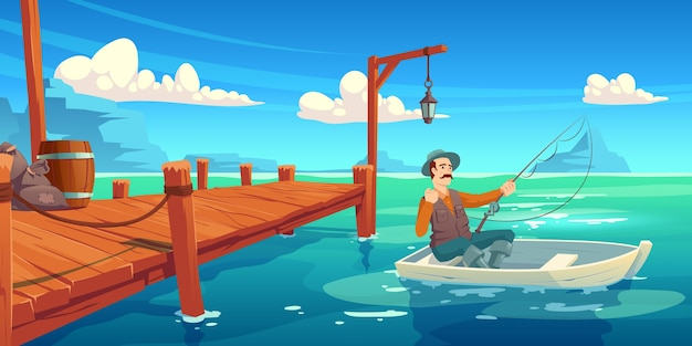 Lake with wooden pier and fisherman in boat. cartoon illustration of summer landscape with river, sea bay or pond, wharf and man in hat with fishing rod in boat