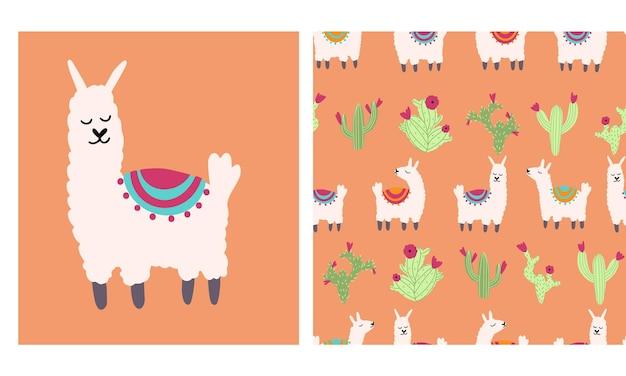 선인장 벡터 일러스트와 함께 라마 알파카 원활한 패턴 낙서 스타일의 보육 문자