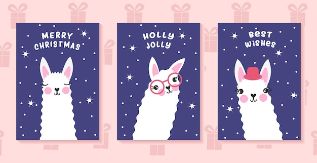 Lama christmas vector posters. funny holday greetings. festive new year postcards.