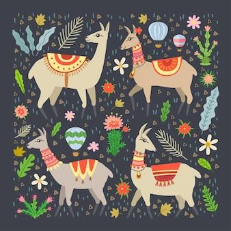 Лама в мультяшном стиле. очаровательные элементы альпаки и кактуса. лама и кактусы. идеально подходит для плакатов, украшения детской комнаты и т. д.