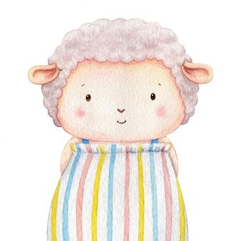 甘い衣装を着た子羊のキャラクター。小さな羊の水彩イラスト