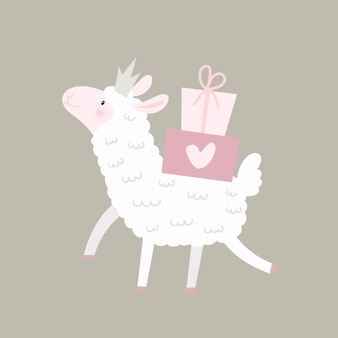 Lamb lama with gifts