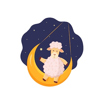 The lamb sits on the moon against the background of the starry sky