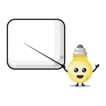 Lamp becomes a teacher cute character mascot