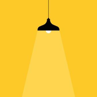 램프 전구 아이콘입니다. 텍스트를 배치하십시오. 램프 표시등이 켜집니다.
