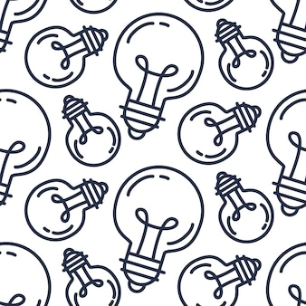 램프 전구 완벽 한 패턴입니다. 크리에이 티브 성공 아이디어 배경입니다. 창업, 기술, 과학을 위한 혁신 장식. 발명, 연구, 상상력 및 창의성의 디자인 요소입니다. 벡터