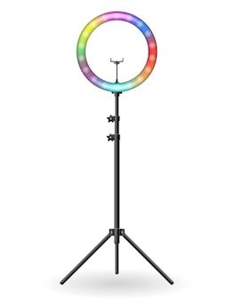 셀카 촬영 블로거 벡터 일러스트 배경에 고립 된 램프 플래시
