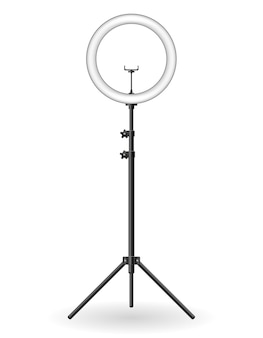 Lamp flash for selfie shooting bloggers vector illustration isolated on background