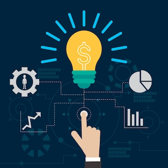 Lamp idea business technology vector illustration