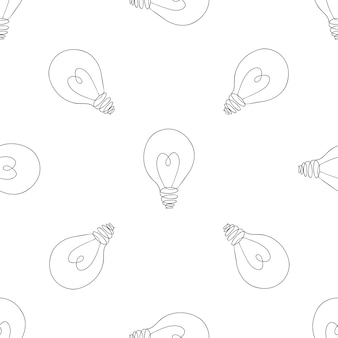 Lamp, light bulb with heart seamless pattern. concept of big idea inspiration, innovation, love.  illustration. idea and love symbol. sketch.
