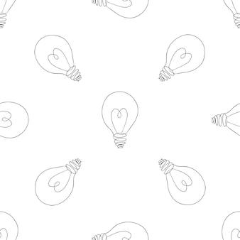 ランプ、ハートのシームレスパターンの電球。大きなアイデアのインスピレーション、革新、愛の概念。図。アイデアと愛のシンボル。スケッチ。