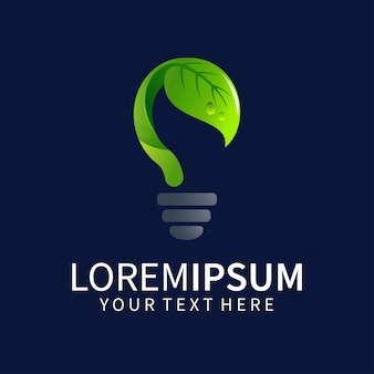 Lamp logo design with leaves isolated on dark blue