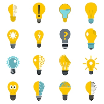 Lamp logo icons set in flat style