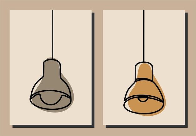 Lamp oneline continuous line art premium vector set