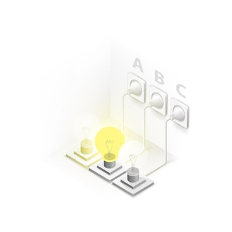 Лампа подключена в изометрии арт. векторная иллюстрация