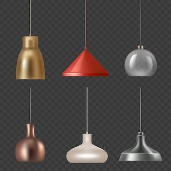 リアルなランプ。豪華な室内装飾のモダンなランプ色のライトのベクトルイラストをぶら下げます。イラストインテリアライトハングフォーム天井