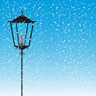 Lamp street with candle over snow vector illustration