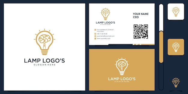 Lamp think smart logo with business card design vector premium