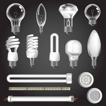 Lamp types vector 3d realistic icons