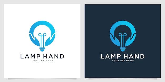 Lamp with hand creative logo design