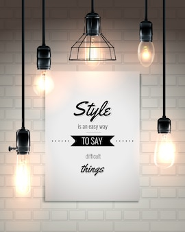 Лампы и цитата лофт стиль плакат