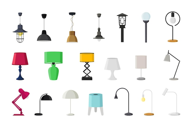 Lamps of different types collections flat style