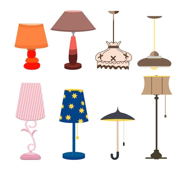 Лампы мебельный набор световой дизайн электрические векторные иллюстрации. торшеры и настольные лампы на электричестве. светильники оформление современные, классические яркие колбы. знак фонаря оборудования интерьера энергии.