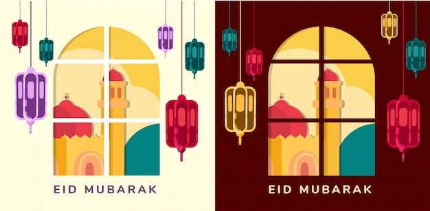 Lamps and mosque on window eid mubarak stay at home idul fitri greeting light and dark mode flat suqare