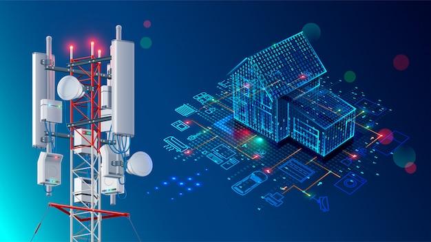 スマートホームの抽象的な背景。無線lanネットワークを介した制御機器のシステム。