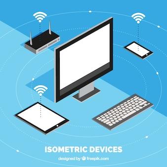 アイソメトリックデザインの電子デバイスを備えた無線lanの背景