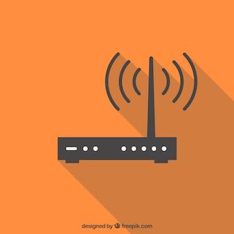 オレンジ色の背景と無線lan