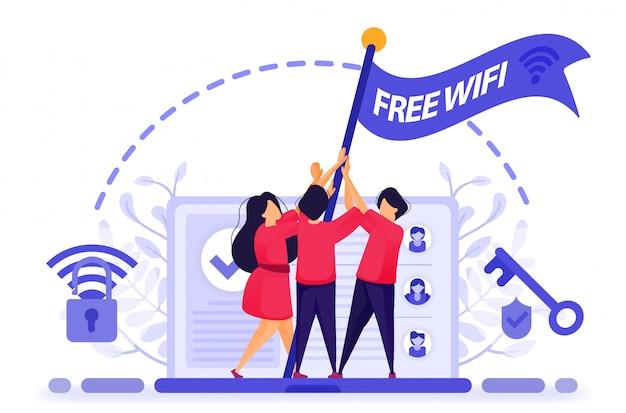 人々は、無料のインターネットまたは無線lanアクセスを得るために旗の抗議を飛ぶ。