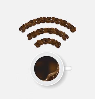 コーヒー豆で作られた無線lanホットスポットサイン接続