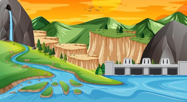 육지와 물 지리 풍경 무료 벡터