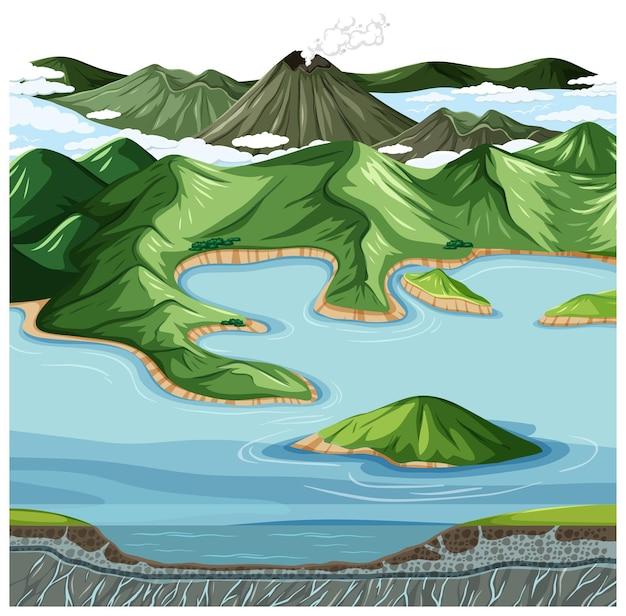 육지와 물 지리 풍경