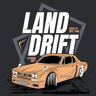 Land drift, illustration of a classic car
