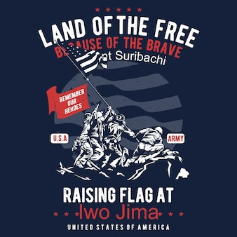 Land of the free rising flat vector