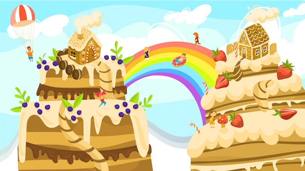 Land of sweets fantasy world, boys and girls on rainbow between cakes and gingerbread houses cartoon  illustration.