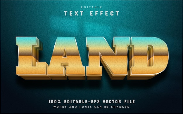 Land text effect with gradient