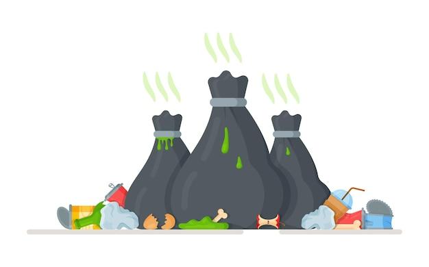 Вывоз на свалку. обеззараживание промышленных отходов. несанкционированные свалки. иллюстрация воздействия на окружающую среду и здоровье населения.