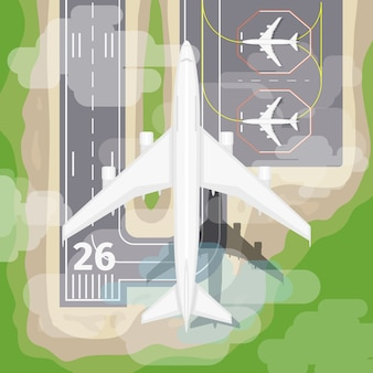 Landing airplane. transportation to airport, aviation in sky, vector illustration