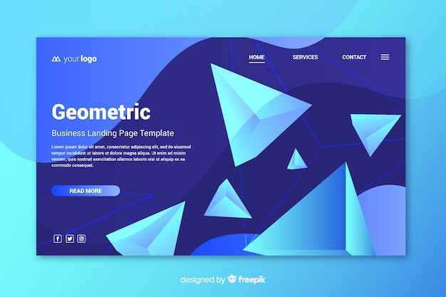 Landing page 3d geometric shapes
