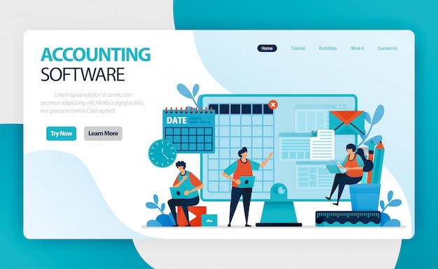 Landing page of accounting software